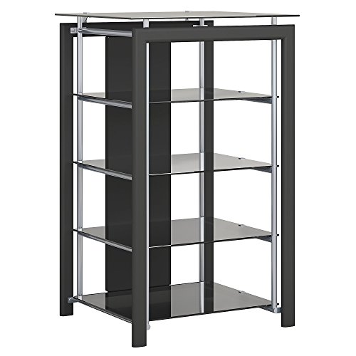 Bush Furniture Midnight Mist Media Stand in Black