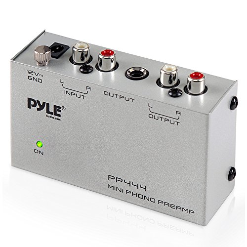 Pyle Phono Turntable Preamp - Mini Electronic Audio Stereo Phonograph Preamplifier with RCA Input, RCA Output & Low Noise Operation Powered by 12 Volt DC Adapter (PP444)